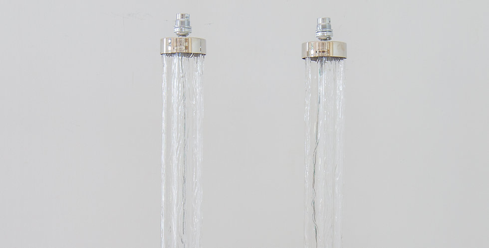 A Pair of Italian Glass and Nickel Pillar Lamps