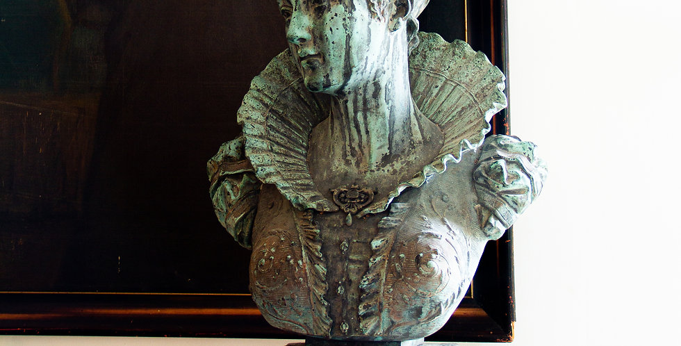 Late 19th Century French Bronze Bust of an Elizabethan Woman