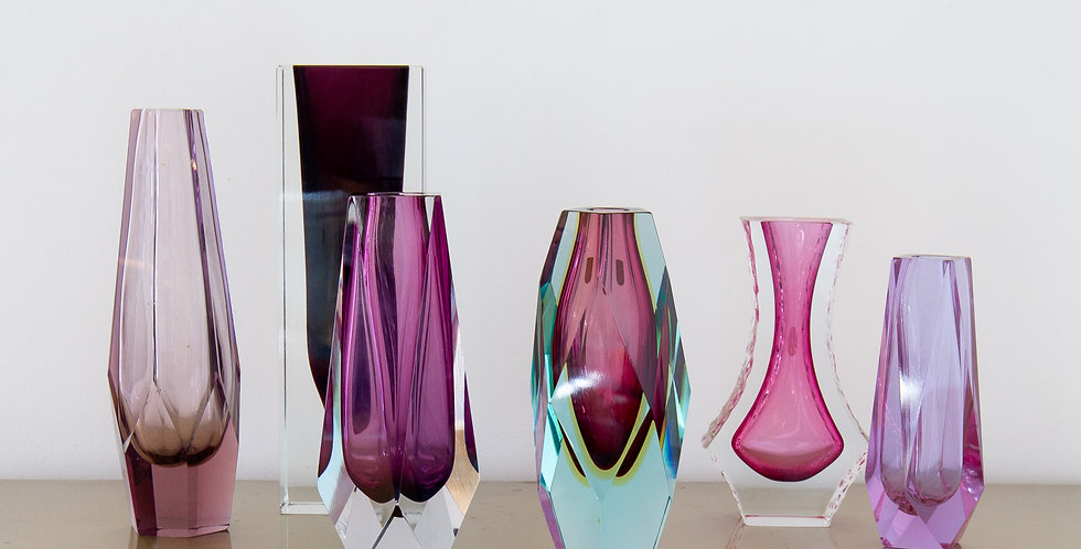 A Group of Six Murano Glass Vases