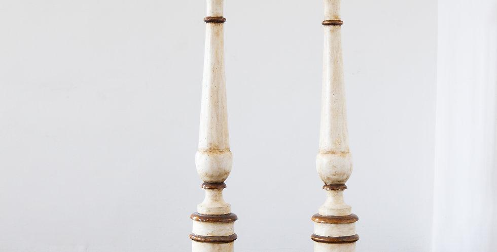 A Pair of Large Italian Floor Pricket Sticks circa 1780