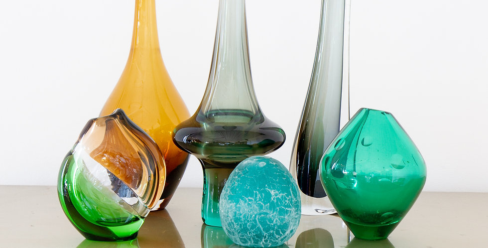 A Group of Six Glass Vases