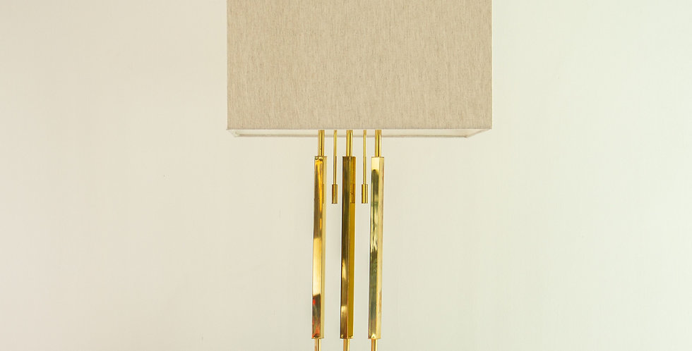 Tall Brass Rod & Wooden Veneered Lamp, 1960s