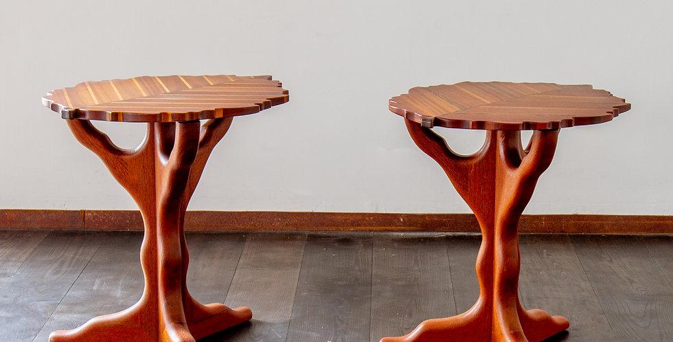 Pair of Exotic Wood Leaf Shaped Side Tables by Paul Vann 2013