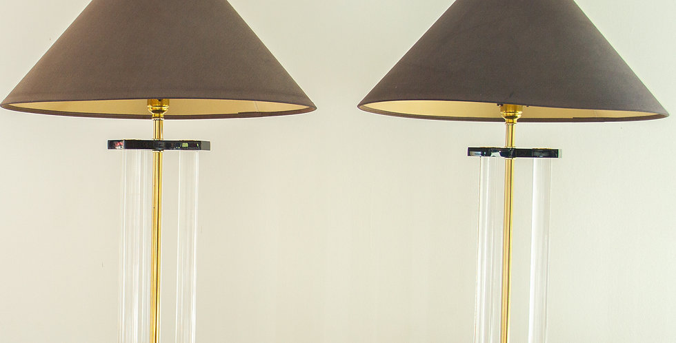 Pair of Bauer Designed Lucite and Brass Lamps 1980s