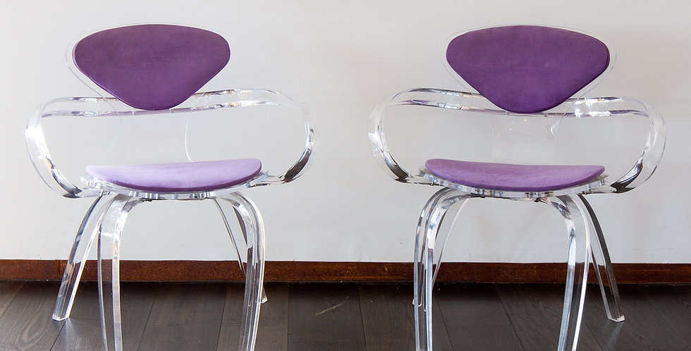 A Pair of Stunning Lucite Chairs 1980s