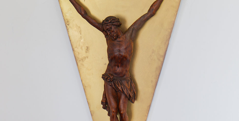An 18th Century Flemish Carved Figure of Christ Wall Sculpture
