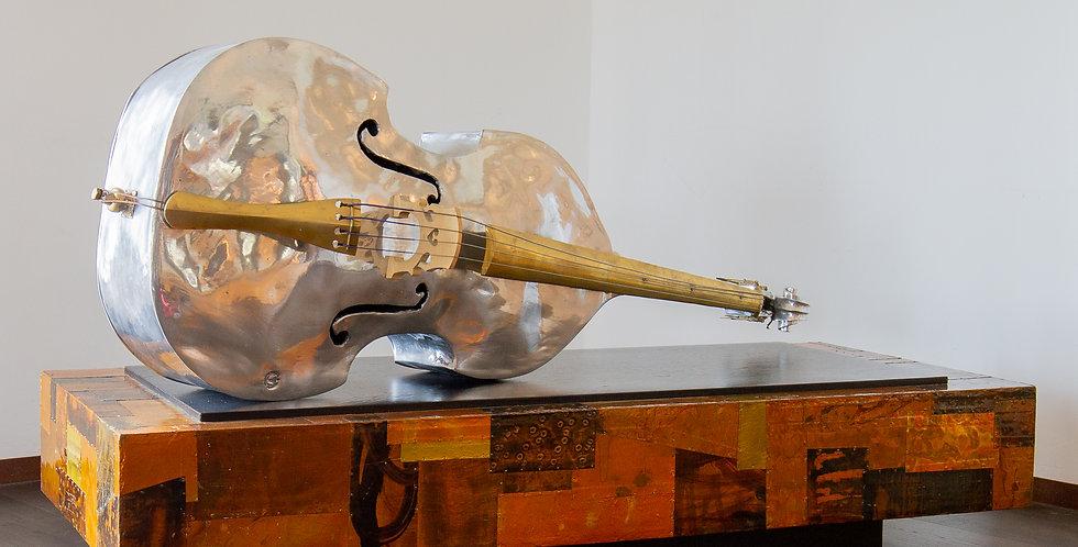 An Aluminium Double Bass Sculpture by Christian Maas
