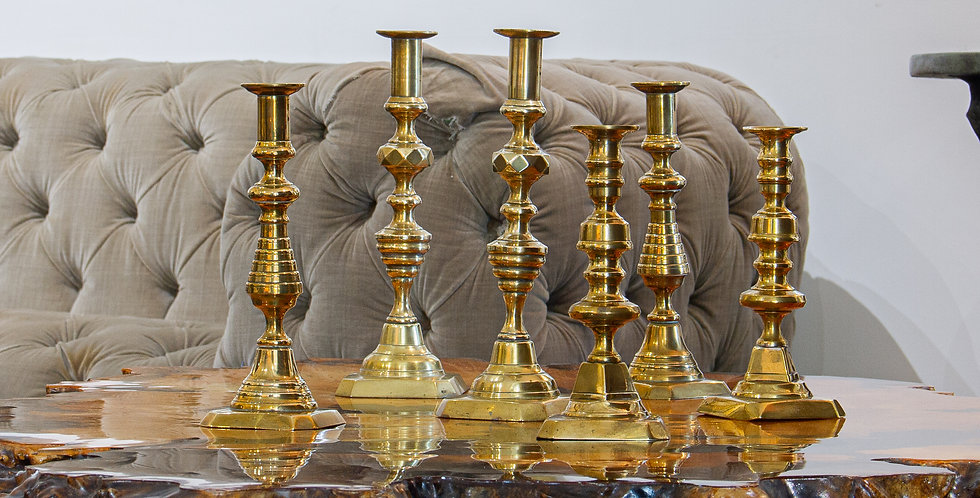 Three pairs of 19th Century Brass Candlesticks