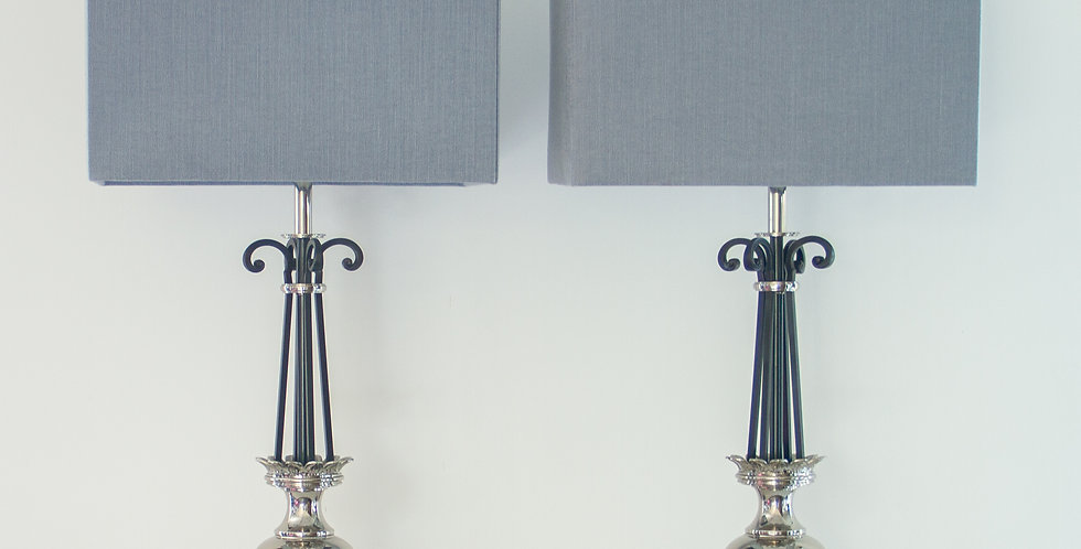 Pair of Steel Lamps by Stiffel, 1950s