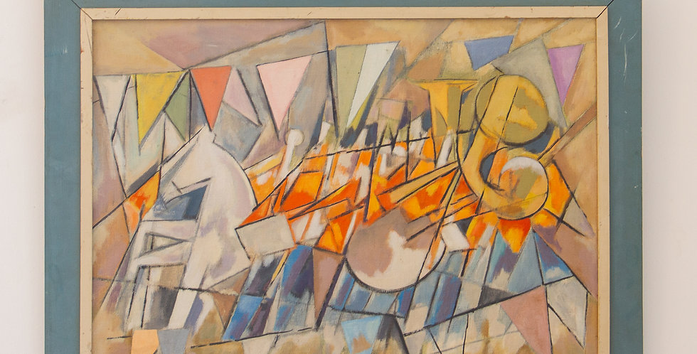 Abstract Oil on Canvas of a Carnival Scene, 1936 signed Millis