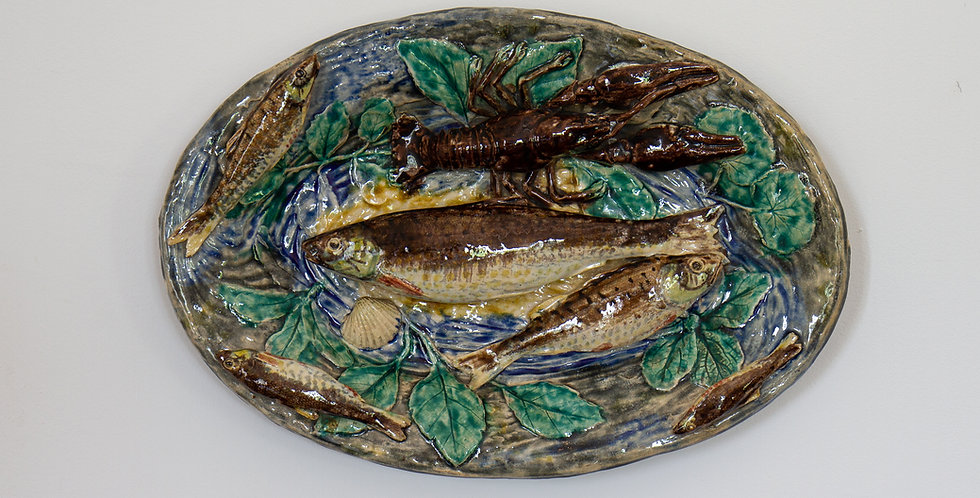 An Alfred Renoleau Palissy Ware Plate, circa 1889-91 signed