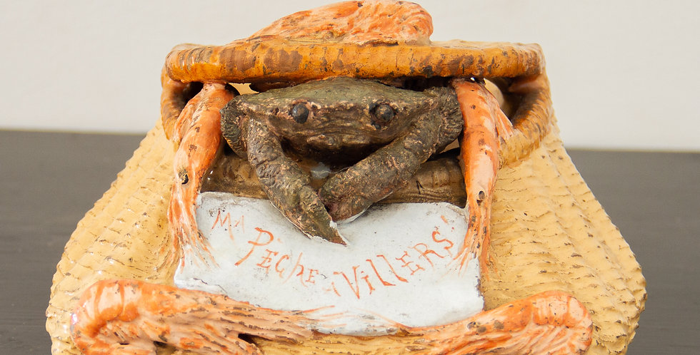 19th Century Palissy Ware Crab Salt Box