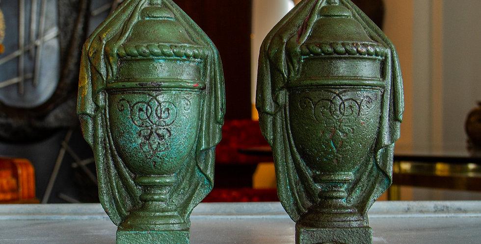 Pair of Miniature Cast Iron Urns circa 1880