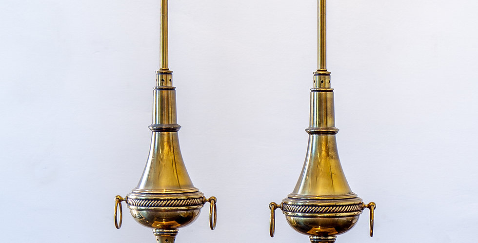 A Pair of French Brass Lamps, 1920s
