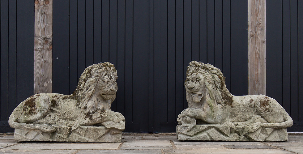 A Pair of Superb 18th Century Bath Stone Lions