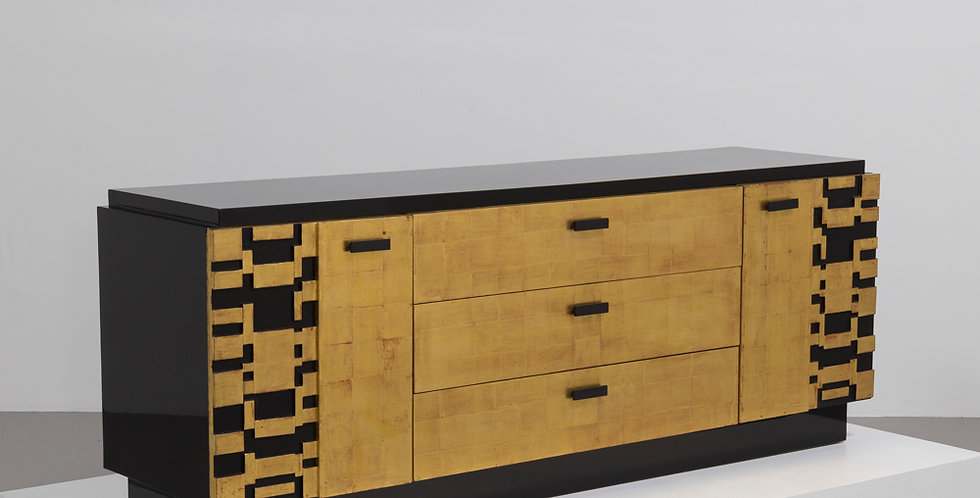 Jet Black Burnished Lacquer and Gold Leaf Cabinet by Lane Company