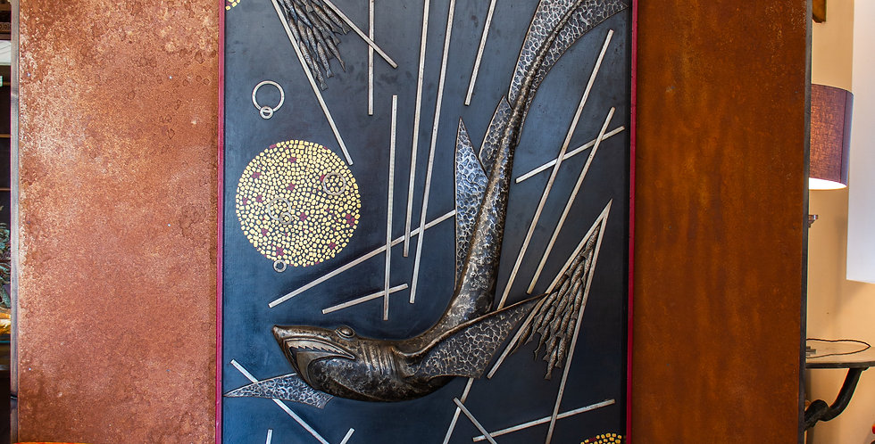Sculpted and Cast Metal Panel by Michel Zadounaisky 1933