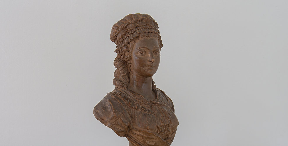 An 18th century French Terracotta Bust of a Young Woman, signed and dated 1789