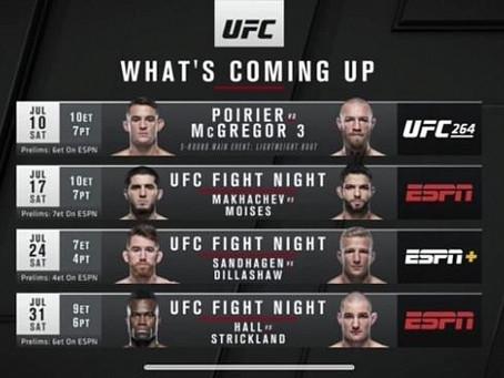 Турниры UFC, запланированные на июль 2021 года.