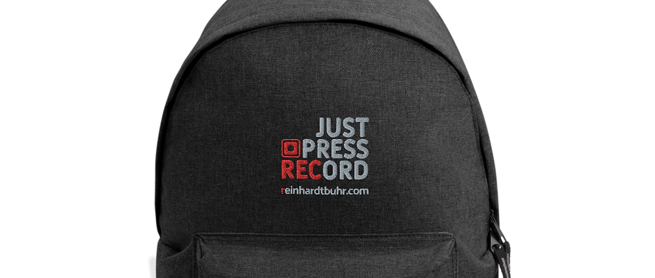 Just Press Record EMBROIDERED Backpack
