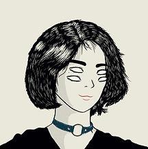 dibujo de mujer con 4 ojos en blanco y n
