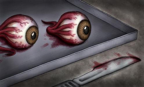 imagen de ojos después de ser cortados c