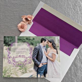Purple Elegance Photo Save the Date