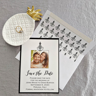 Black and White Pineapple Save the Date