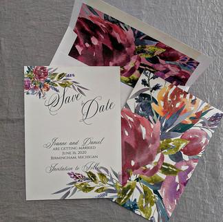 Vintage Floral Watercolor Save the Dates
