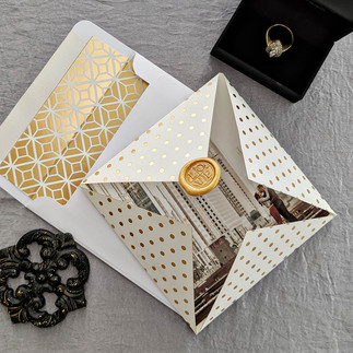 Gold Urban Fold Save the Date 2