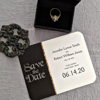 Black White Gold Art Deco save the Date