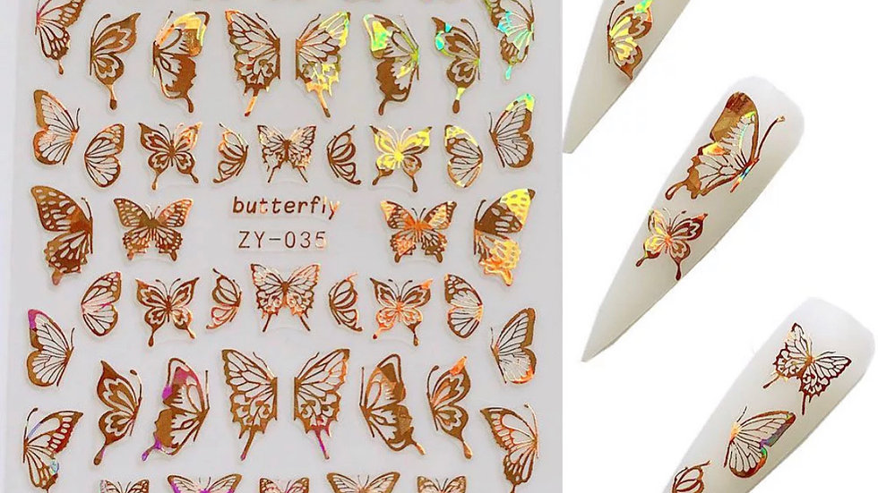 Holo Gold Butterflies Stickers