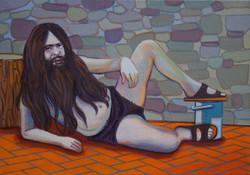 Geraint evans, Solitary Man, 2021, oil on canvas, 21 x 30cm copy