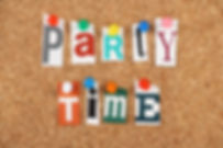 The phrase Party Time in cut out magazin