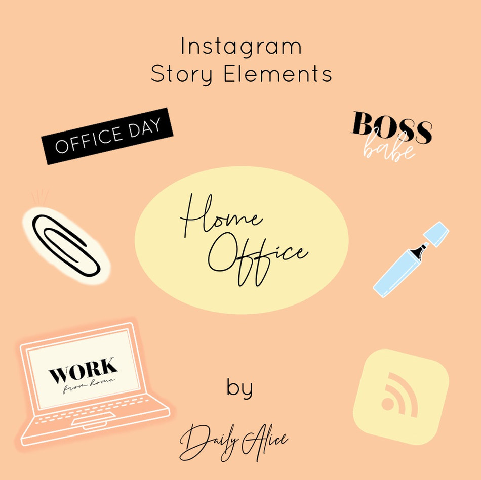"""INSTAGRAM STORY ELEMENTS """"HOME OFFICE"""""""