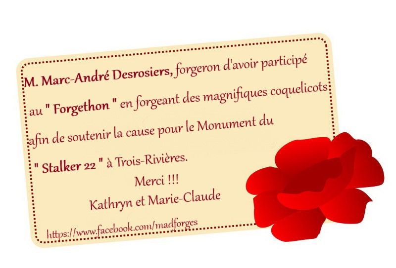 remerciement Marc-Andre Desrosiers Forge