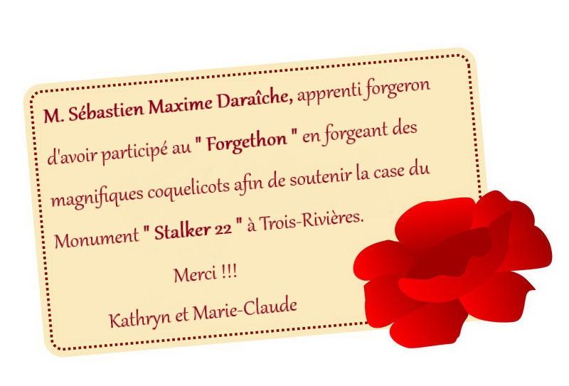 remerciement Sebastien Maxime Daraiche a