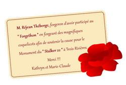 remerciement Rejean Theberge Forgeron