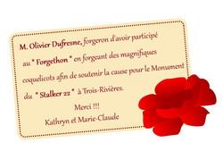 remerciement Olivier Dufresne Forgeron