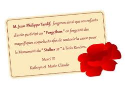 remerciement Jean-Philippe Tardif Forger