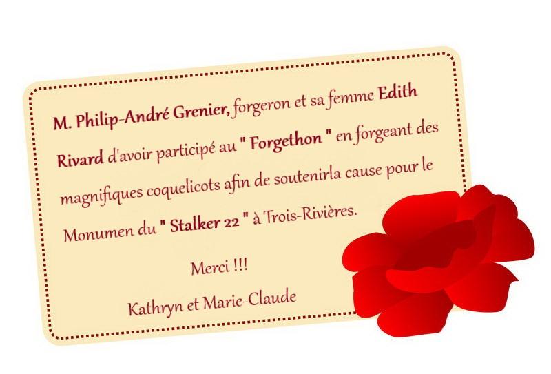 remerciement Philippe Andre Grenier Forg