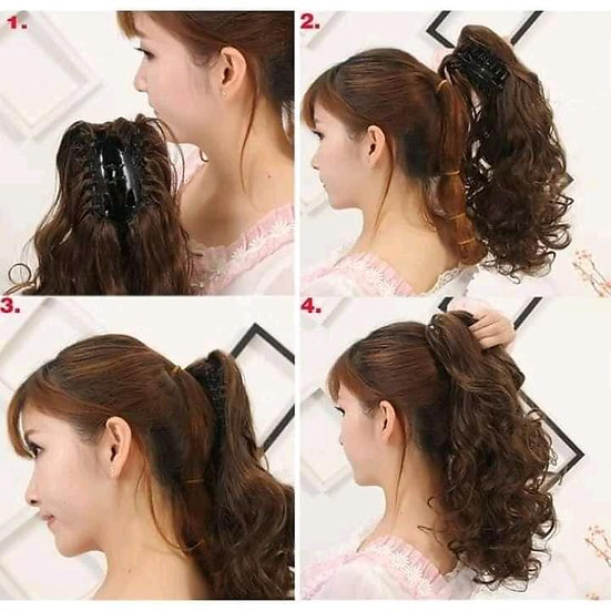 Synthetic Curly Clip In Claw Ponytail Hair Extension Synthetic Hair Wig