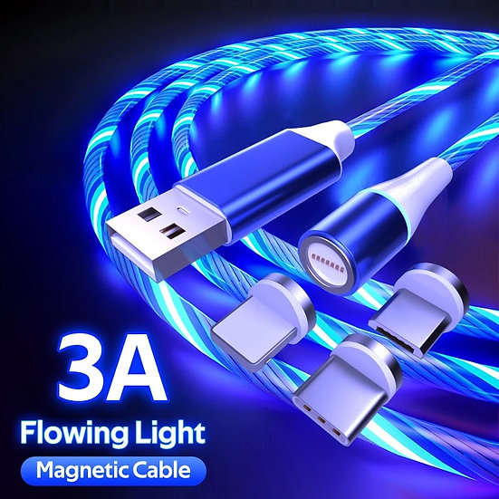 LED Glowing and Magnetic 3 in one Mobile USB Cable for Android Apple and Type C