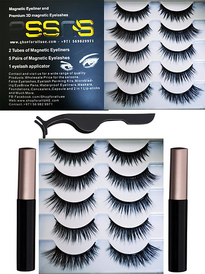 2020 New styles top quality 3D magnets powerful Faux mink eye lashes 5 pairs wit