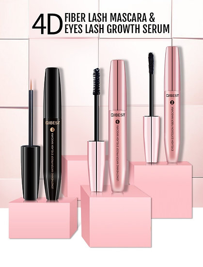 3pcs QIBEST 4D Lash Mascara With Fiber Serum Eyelash Extension Full Set
