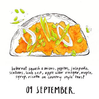 calendar 2017 - butternut squash toast.