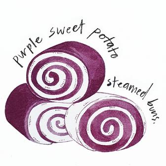 purple buns.
