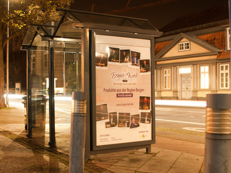 """City Light Plakat """"Berger Korb"""" - Vom Entwurf auf die Straße"""