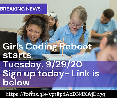 Girls Coding REBOOT starts Tuesday, 9_29