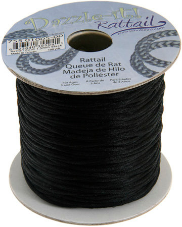 RATTAIL CORD 1.5mm  Black- 100yd spool